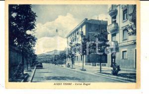 1930 ca ACQUI TERME (AL) Corso Bagni *Cartolina ANIMATA con automobile FP NV