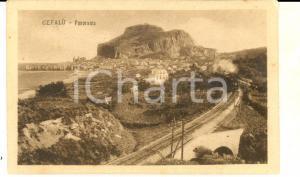 1920 CEFALU' (PA) Panorama del paese  con ferrovia *Cartolina postale FP VG