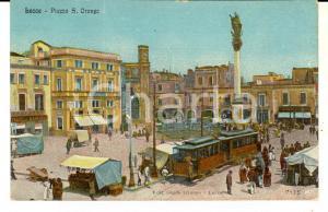 1916 LECCE Veduta di piazza SANT'ORONZO *Cartolina illustrata ANIMATA tram