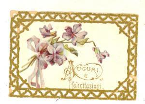 1910 ca ITALIA Biglietto di auguri con bordo a traforo *VINTAGE 7x5 cm