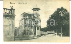 1917 FAENZA (RA) Veduta con il villino PRITELLI *Cartolina postale FP NV