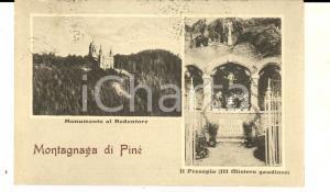 1932 MONTAGNAGA DI PINE' Vedutine con monumento al Redentore *Cartolina FP VG