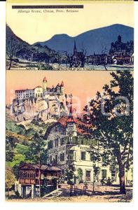 1920 ca CHIUSA (BZ) L'albergo KRONE Cartolina ILLUSTRATA FP NV