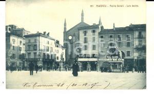 1912 PIACENZA Piazza Cavalli - Lato destro con i Magazzini Italiani *Cartolina
