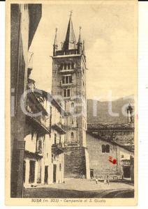 1927 SUSA (TO) Veduta con il campanile di SAN GIUSTO *Cartolina DANNEGGIATA