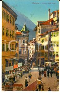 1929 BOLZANO Piazza delle Erbe *Cartolina postale ILLUSTRATA FP VG