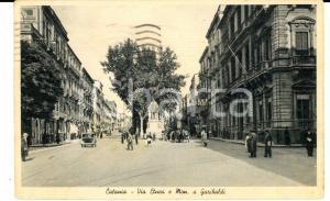 1940 CATANIA Via ETNEA e monumento a GARIBALDI *Cartolina ANIMATA FP VG