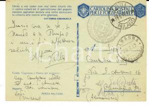 1942 WW2 LODI Armata ARTIGLIERIA - Cartolina cap. Nello CANTATORE Franchigia