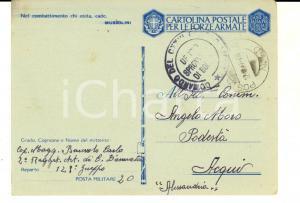 1942 WW2 P.M. 20 2° Regg. ARTIGLIERIA Cartolina cap. magg. Carlo BENEVOLO