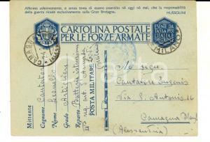 1942 WW2 LODI IV Reggimento ARTIGLIERIA Cartolina cap. Leonello CANTATORE