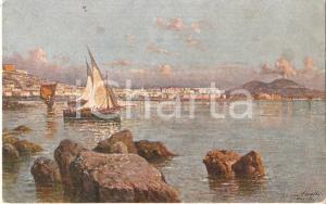 1950 NAPOLI Panorama da Mergellina dipinto da Giuseppe CARELLI *Cartolina FP NV