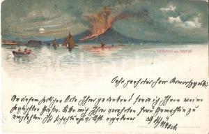 1898 NAPOLI Il Vesuvio nel 1872 *Cartolina ILLUSTRATA FP VG