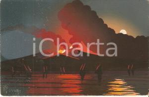 1955 ca NAPOLI Eruzione notturna del VESUVIO *Cartolina DIPINTA A MANO FP NV