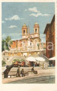 1951 ROMA Passeggiata in Piazza di Spagna *Cartolina ILLUSTRATA FP VG