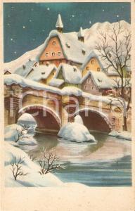 1958 BUON NATALE Paesaggio con ponte innevato *Cartolina FP VG