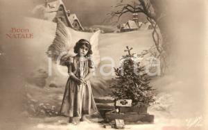 1930 BUON NATALE Angioletto con alberto di Natale *Cartolina FP VG