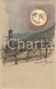 1935 ca ARTE Paesaggio nortturno Cartolina dipinta a mano da Nina GALLI FP NV