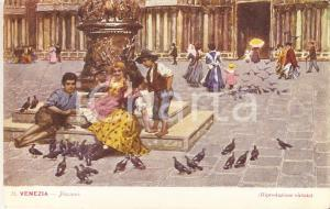 1925 ca VENEZIA Bambini giocano con piccioni *Cartolina ILLUSTRATA FP NV