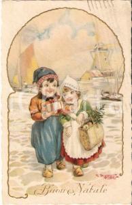 1931 BUON NATALE Scambio di doni tra piccoli olandesi *Cartolina FP VG