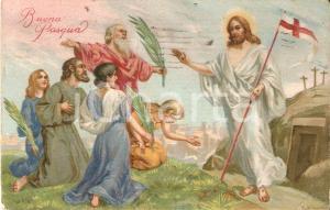 1937 BUONA PASQUA Gesù esce dal sepolcro e incontra apostoli *Cartolina FP VG