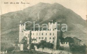 1934 CLES (TN) Panorama con CASTEL CLES *Cartolina FP VG