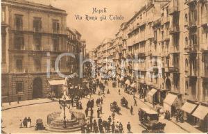 1913 NAPOLI Tram a cavalli in via Roma già TOLEDO *Cartolina FP VG