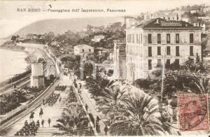 1908 SANREMO Parata dei bersaglieri su Passeggiata dell'Imperatrice Cartolina FP