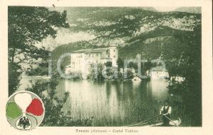 1920 ca TRENTO Veduta Castel TOBLINO con il lago *Cartolina ANIMATA barcaiolo FP