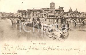 1910 ROMA Veduta dell'Isola TIBERINA sul TEVERE *Cartolina FP NV