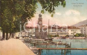 1910 RIVA DEL GARDA (TN) Panorama del porto LAGO DI GARDA *Cartolina FP VG