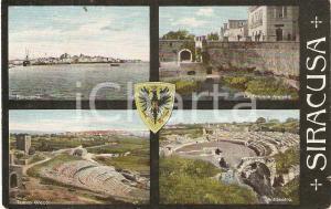 1910 SIRACUSA Vedutine Fontana ARETUSA Tempio greco ANFITEATRO *Cartolina FP VG