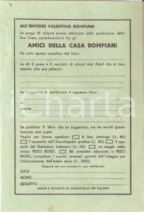 1960 ca MILANO Cartolina iscrizione Amici della Casa BOMPIANI Valentino