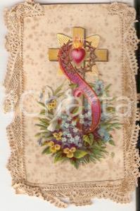 1930 ca ARTE SACRA Colomba ai piedi della croce *Santino ILLUSTRATO 5x8 cm