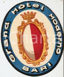 1950 ca BARI Grand Hotel MODERNO *Etichetta 10x13 cm