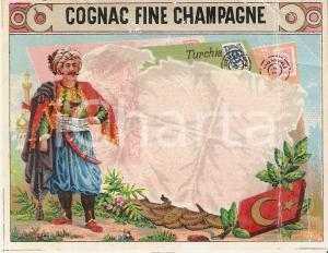 1965 ca COGNAC FINE CHAMPAGNA Ilustrazione con turco *Etichetta 11x9 cm