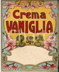 1920 ca CREMA VANIGLIA - Etichetta pubblicitaria liquore VINTAGE 12x13 cm