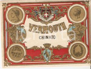 1950 ca LIQUORE VERMOUTH CHINATO Etichetta pubblicitaria VINTAGE 13x10 cm