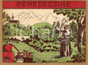 1965 ca BENEDICTINE Liquore *Etichetta ILLUSTRATA con frate 12x9 cm