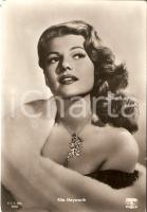 1955 ca CINEMA Actress Rita HAYWORTH wears fur coat *Cartolina FG NV