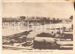 1940 ca WW2 Nostre colonne motorizzate sul FRONTE RUSSO *Cartolina DANNEGGIATA