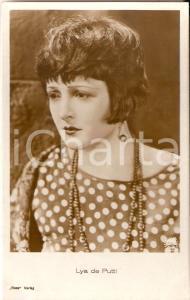 1930 ca CINEMA Lya DE PUTTI Ritratto con collana e orecchini *Cartolina FP NV