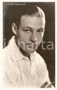 1925 ca CINEMA Rodolfo VALENTINO Ritratto con camicia bianca *Cartolina FP NV