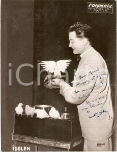 1958 PARIS OLYMPIA Prestigiatore Ricky IGOLEN con le colombe *Foto con AUTOGRAFO