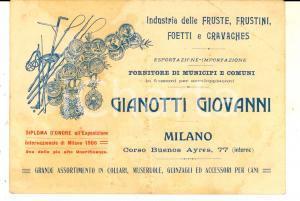 1910 ca MILANO Industria fruste GIANOTTI Giovanni  *Cartolina DANNEGGIATA FG