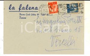 1950 STORIA POSTALE TORINO LA FALENA Cartoncino pubblicitario Lire 10 + Lire 5
