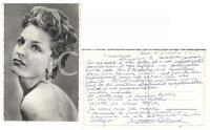 1958 PARIS Ritratto cantante Ginette ROLLAND *Foto seriale con AUTOGRAFO 9x14
