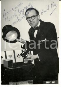 1960 ca FRANCE CIRCUS Ritratto di Emil RAY prestigiatore *Foto seriale AUTOGRAFO