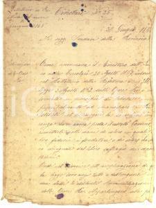 1868 PADOVA Della sistemazione delle Opere Pie *Circolare manoscritta 4 pp.