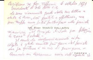1979 PADOVA Biglietto da visita dell' ing. prof. Mario BALLARIN *Autografo