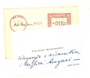1963 MILANO Biglietto da visita dell'imprenditore Franco MARINOTTI *Autografo